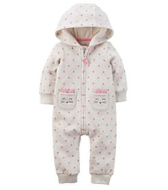 Carter's® Baby Girls' Hooded Brushed Fleece Jumpsuit