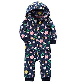 Carter's Baby Girls' Multi Floral Print Hooded Fleece Jumpsuit