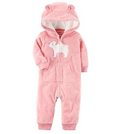 Carter's® Baby Girls' Bear Patch Hooded Fleece Jumpsuit