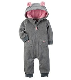 Carter's Baby Girls' Mouse Hooded Fleece Jumpsuit
