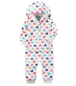 Carter's® Baby Girls' Multi Heart Print Hooded Fleece Jumpsuit