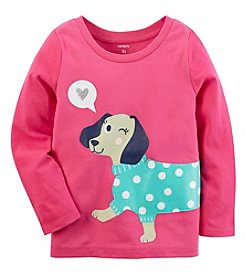 Carter's Girls' 12M-4T Long Sleeve Glitter Dog Tee