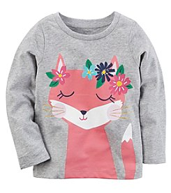 Carter's Girls' 2T-4T Long Sleeve Flower Fox Tee