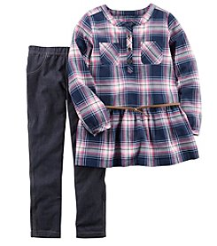 Carter's® Girls' 4-8 2 Piece Flannel Top And Jeggings Set