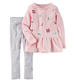Carter's® Girls' 4-8 2 Piece Embroidered Peplum Top And Leggings Set