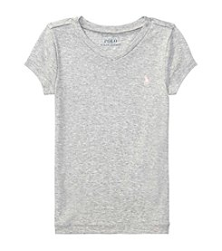 Polo Ralph Lauren® Girls' 2T-16 Short Sleeve Vneck Knit Tee