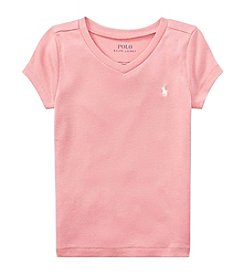 Polo Ralph Lauren® Girls' 2T-6X Short Sleeve Vneck Knit Tee