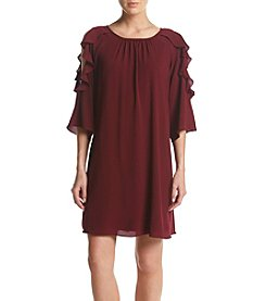 Jessica Howard® Wine Cold Shoulder Ruffle Sleeve Shift Dress
