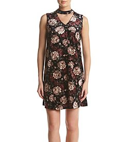 AGB® Kehole Mock Neck Floral Print Dress
