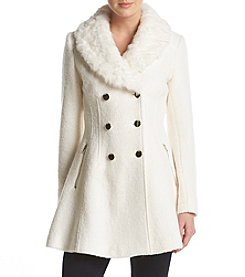 GUESS Fit & Flare Faux Fur Collar Pea Coat
