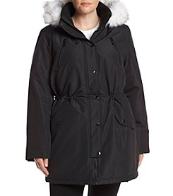 HFX Halifax Plus Size  Parka With Faux Fur Trimmed Hood