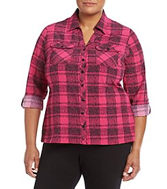 Studio Works® Plus Size Plaid Top