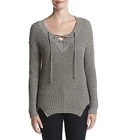 Ruff Hewn Lace Up Pullover Sweater