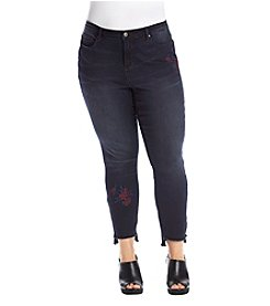 Ruff Hewn GREY Plus Size Embroidered Ankle Jeans