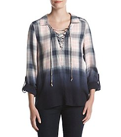 Oneworld® Plaid Woven Lace Top