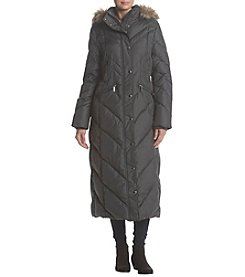 London Fog Quilted Maxi Down Hooded Jacket