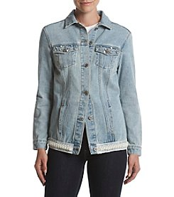 One 5 One Pearl Detail Denim Jacket
