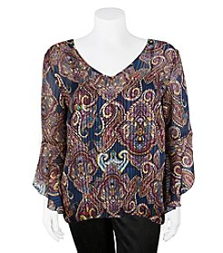 A. Byer Plus Size Paisley Lace-Up Bell Sleeve Top