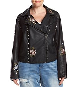 Hippie Laundry Plus Size Embroidered Studded Moto Jacket