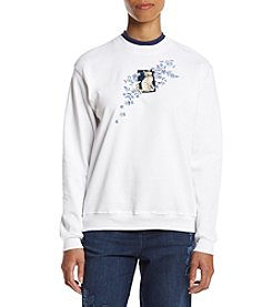 Morning Sun® Petites' Denim Kitty Cascade Fleece