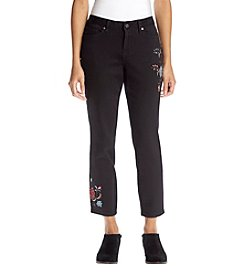 Earl Jean Petites' Floral Embroidered Jeans
