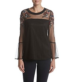Ruff Hewn GREY Mesh Embroidered Top