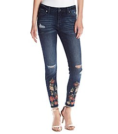 Celebrity Pink Floral Embroidered Frayed Hem Skinny Jeans