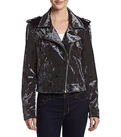 BLANKNYC Crushed Velvet Moto Jacket