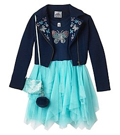 Beautees Girls' 4-6X 2 Piece Embroidered Moto Jacket And Dress
