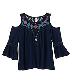 Beautees Girls' 7-16 Boho Cold Shoulder Top