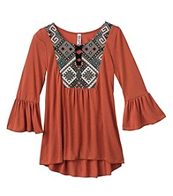 Beautees Girls' 7-16 High-Low Tapstry Flare Sleeve Top