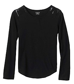 Miss Attitude Girls' 7-16 Long Sleeve Sequin Shoulder Tee