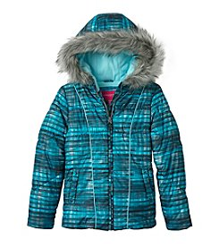 London Fog® Girls' 7-16 Plaid Puffer