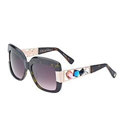 Oscar de la Renta Jewel Tortoise Shell Square Sunglasses