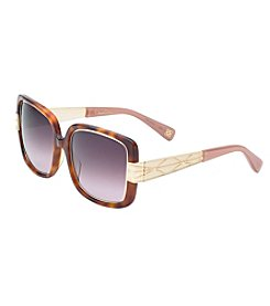 Oscar de la Renta Tortoise Shell Rectangle Sunglasses