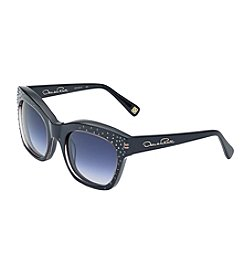 Oscar de la Renta Rectangle Rhinestone Sunglasses