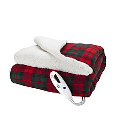 Living Quarters Plaid Print Electric Heated Sherpa Throw