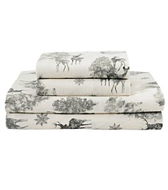 Living Quarters Heavy-Weight Flannel Sheet Set - Deer Tree