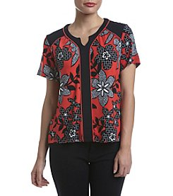 Alfred Dunner® Petites' Saratoga Springs Floral Leaf Texture Top