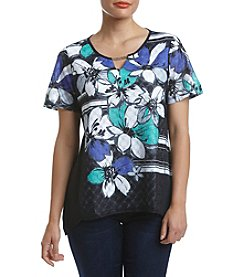 Alfred Dunner® Petites' Closet Case Floral Stripe Top