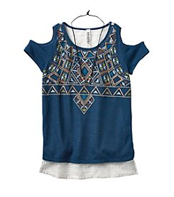 Beautees Girls' 7-16 High-Low Printed Top
