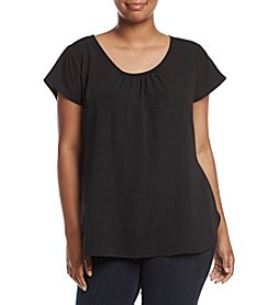 NY Collection Plus Size Pleated Neck Top