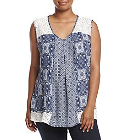 NY Collection Plus Size Crochet Lace Printed Top
