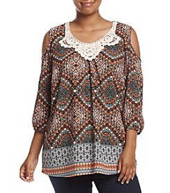 NY Collection Plus Size Printed Cold Shoulder Top
