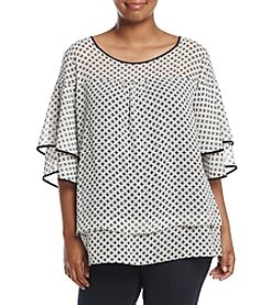 NY Collection Plus Size Printed Layered Elbow Sleeve Top