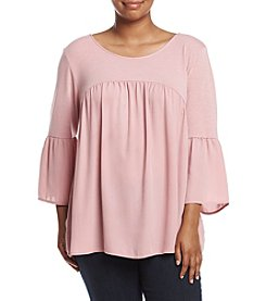 NY Collection Plus Size Bell Sleeve Relaxed Top