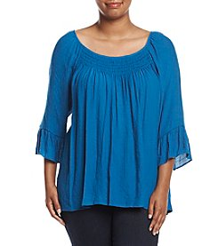 NY Collection Plus Size Smocked Neckline Top