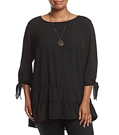 AGB® Plus Size Peplum Knit Tunic