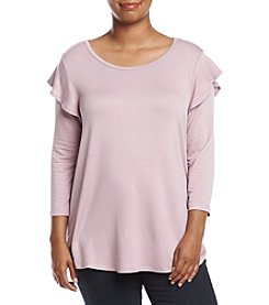 Bobeau® Plus Size Ruffle Shoulder Terry Top