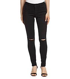 Black Daisy Distressed Detail Black Wash Skinny Jeans